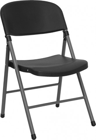 Black Plastic Folding Chair with Charcoal Frame