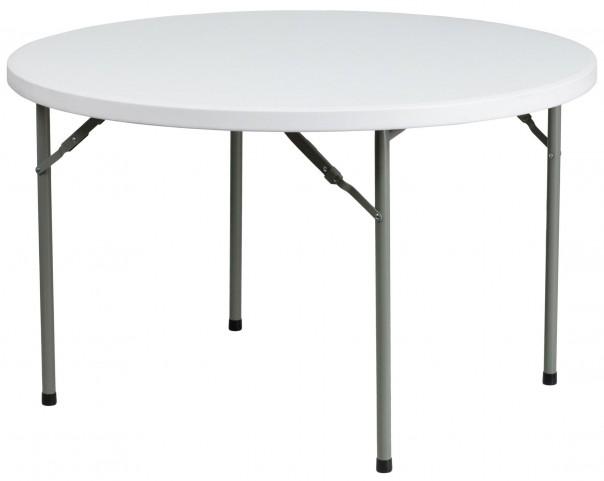 "48"" Round Granite White Plastic Folding Table"
