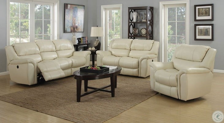 Dawson Cream Leather Power Reclining Living Room Set