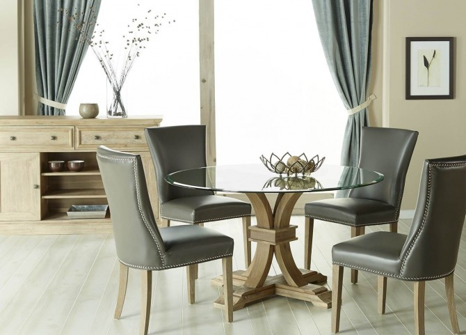 """Devon Stone Wash 54"""" Round Dining Room Set with Avery Pebble Dining Chairs"""
