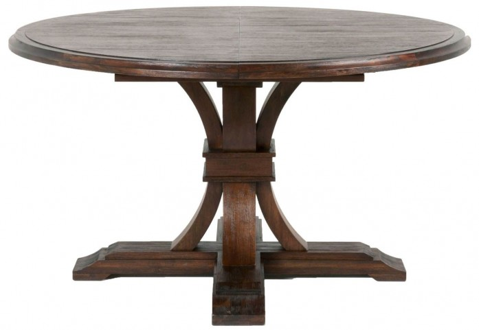Traditions Rustic Java Devon Round Extendable Dining Table