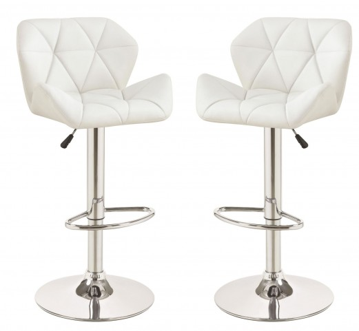 White Upholstered Adjustable Bar Stool Set of 2