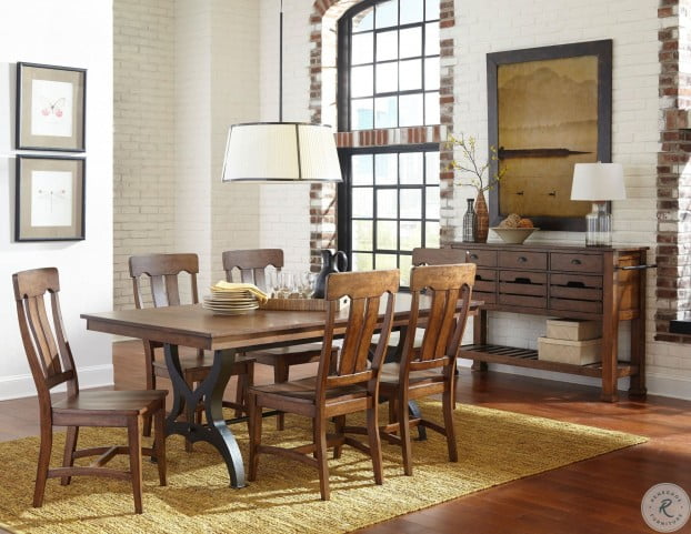 District Rustic Extendable Dining Room Set