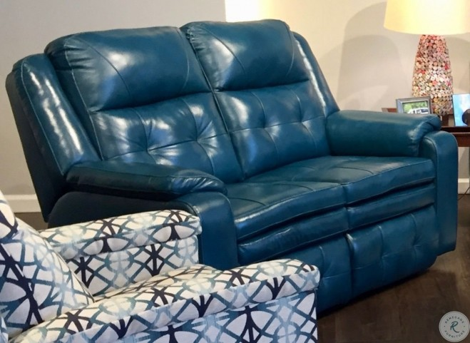 Inspire Peacock Double Reclining Leather Living Room Set