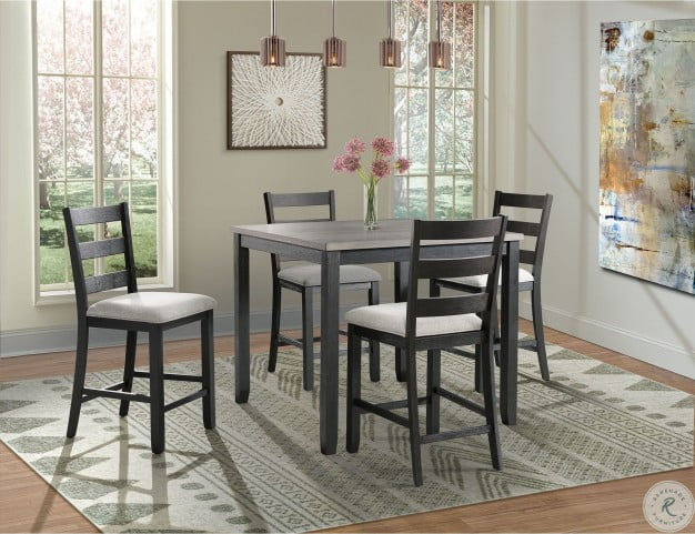 Amazing Kona Gray And Black 5 Piece Counter Height Dining Room Set Gmtry Best Dining Table And Chair Ideas Images Gmtryco