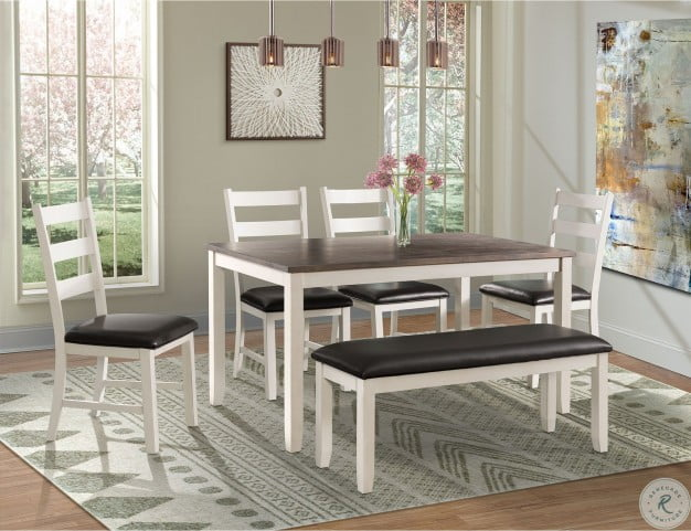 Stupendous Kona Brown And White 6 Piece Dining Room Set Gmtry Best Dining Table And Chair Ideas Images Gmtryco