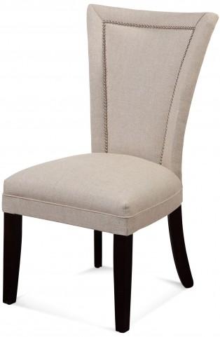 Flair Natural Linen Nailhead Parson Chair
