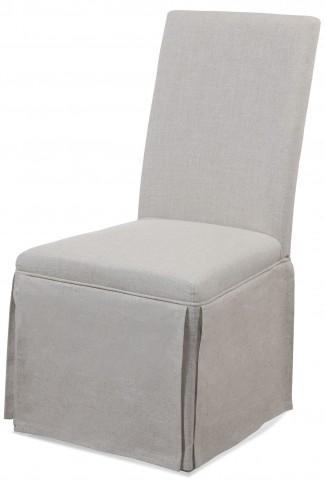 Skirted Grey Linen Parson Chair