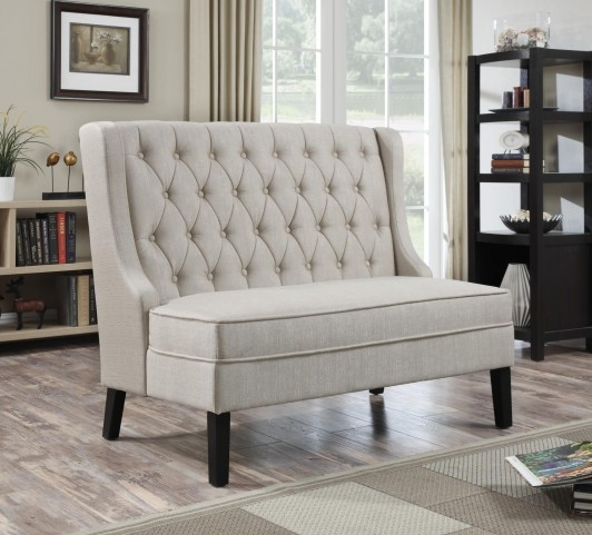 Fabulous Tuxedo Oatmeal Banquette Bench Pabps2019 Chair Design Images Pabps2019Com