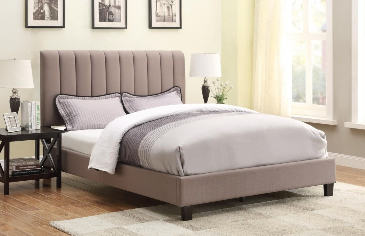 Sterling Taupe Queen Upholstered All-In-One Platform Bed
