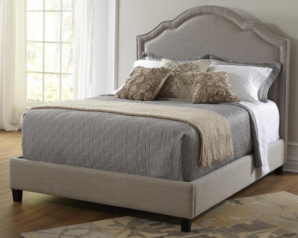 Queen Upholstered Shaped Nailhead Bed