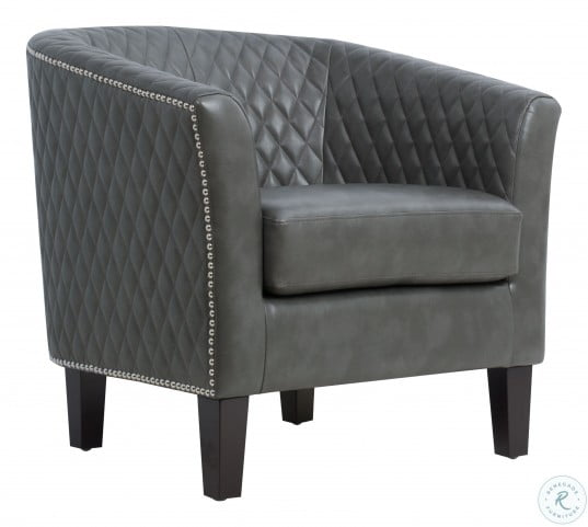 Gray Quilted Barrel Accent Chair