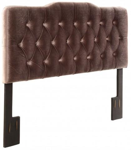 Velvet Slate Queen Upholstered Soft Shape Headboard