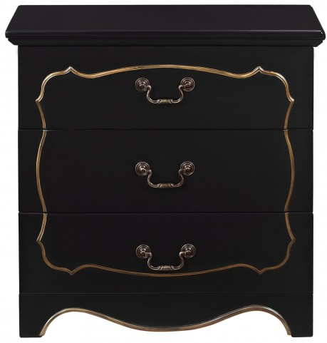 Fancy Overlay Painted Black Drawer Chest