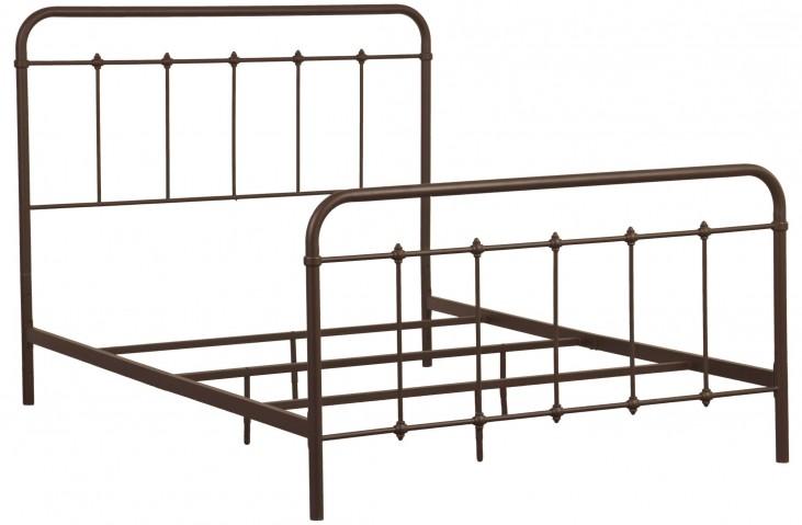 Brown Queen Curve Metal Bed
