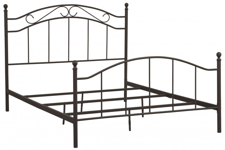 Brown Queen Scroll Metal Bed