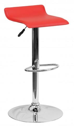 1000787 Red Vinyl Adjustable Height Bar Stool