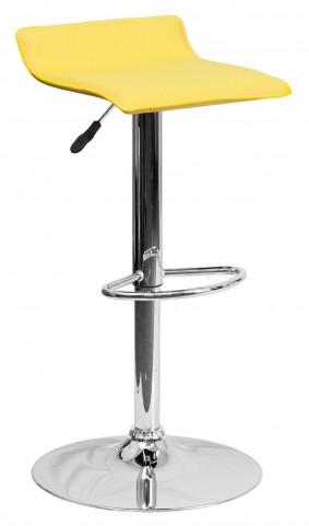 1000789 Yellow Vinyl Adjustable Height Bar Stool