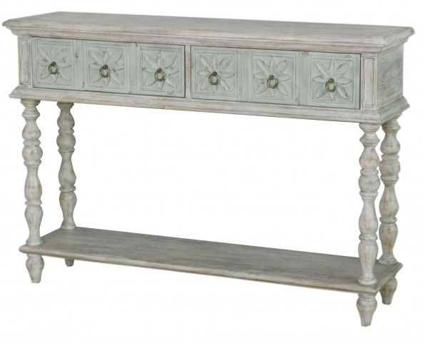 Ancient White 2 Drawer Console Table