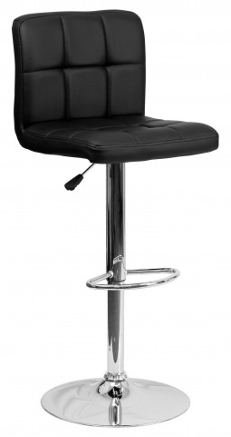 Black Quilted Adjustable Height Bar Stool