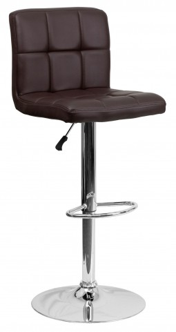 Brown Quilted Adjustable Height Bar Stool