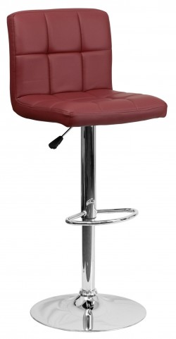 Burgundy Quilted Adjustable Height Bar Stool