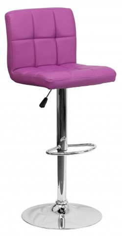 Purple Quilted Adjustable Height Bar Stool