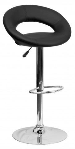 Black Rounded Back Adjustable Height Bar Stool
