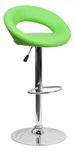 Green Rounded Back Adjustable Height Bar Stool