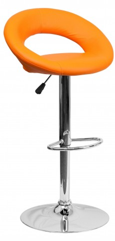 Orange Rounded Back Adjustable Height Bar Stool