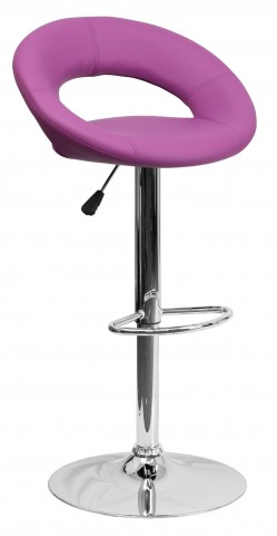Purple Rounded Back Adjustable Height Bar Stool