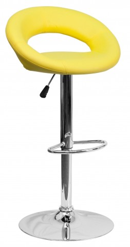 Yellow Rounded Back Adjustable Height Bar Stool
