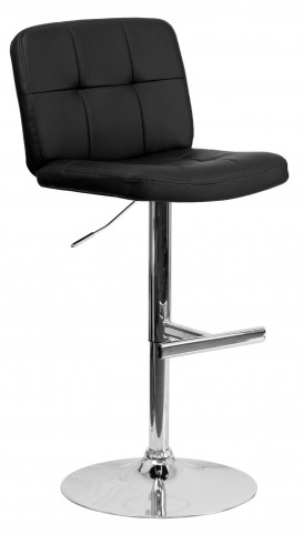 Tufted Black Vinyl Adjustable Height Bar Stool