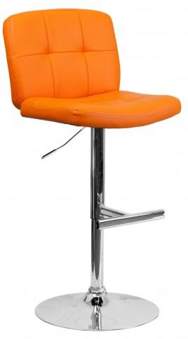 Tufted Orange Vinyl Adjustable Height Bar Stool