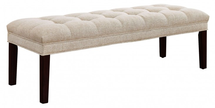 Tan Upholstered Panel Tufted Bed Bench