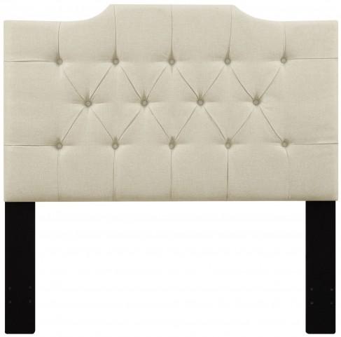 Beige Full/Queen Upholstered Panel Headboard