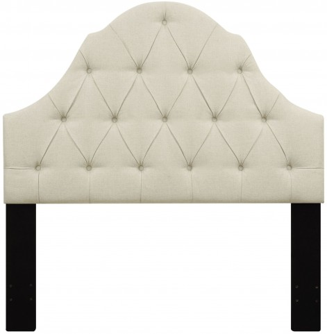 Beige Full/Queen Button Tufted Upholstered Headboard