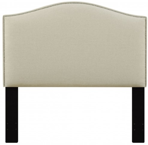 Beige Full/Queen Nailhead Upholstered Headboard