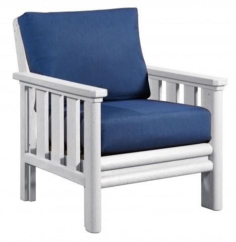 Stratford White Chair With Indigo Blue Sunbrella Cushions