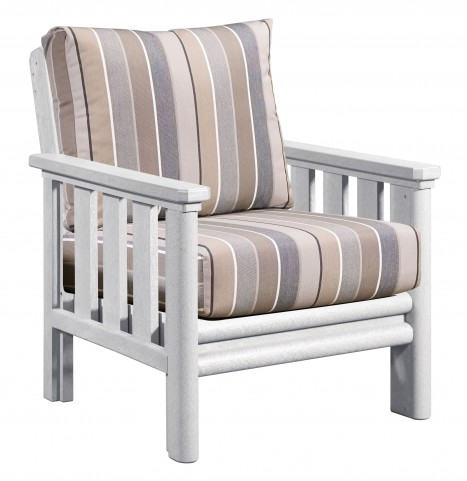 Stratford White Chair With Milano Charcoal Sunbrella Cushions