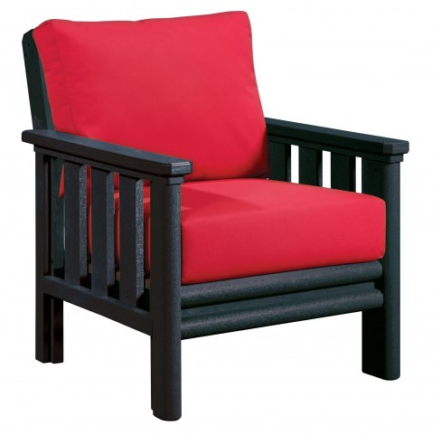Stratford Black Chair With Jockey Red Sunbrella Cushions Sunbrella Cushions