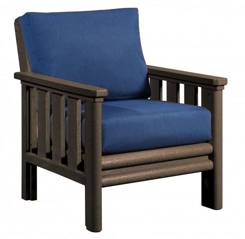 Stratford Chocolate Chair With Indigo Blue Sunbrella Cushions