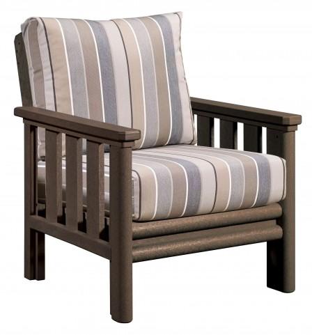 Stratford Chocolate Chair With Milano Charcoal Sunbrella Cushions