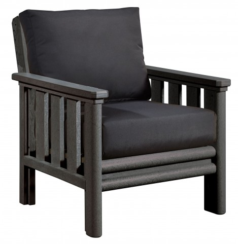 Stratford Slate Gray Chair With Black Sunbrella Cushions