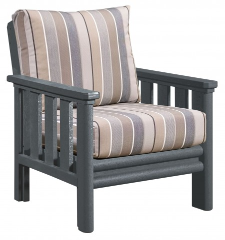 Stratford Slate Gray Chair With Milano Charcoal Sunbrella Cushions