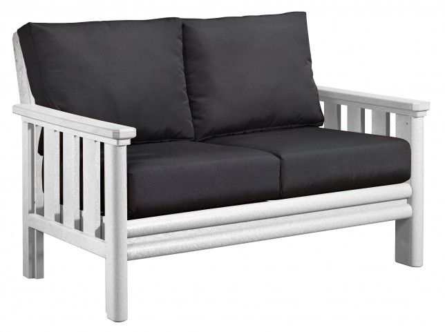 Stratford White Loveseat With Black Sunbrella Cushions