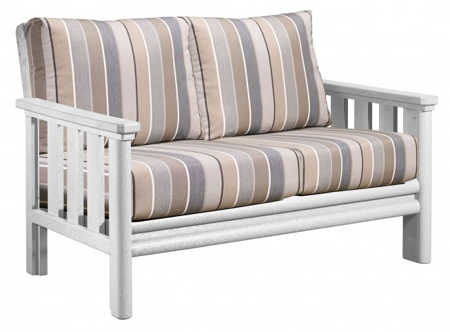 Stratford White Loveseat With Milano Charcoal Sunbrella Cushions
