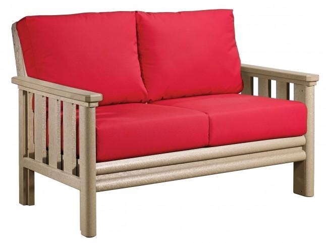 Stratford Beige Loveseat With Jockey Red Sunbrella Cushions