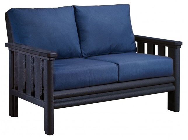 Stratford Black Loveseat With Indigo Blue Sunbrella Cushions Sunbrella Cushions