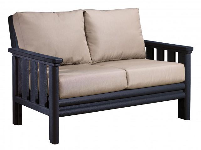 Stratford Black Loveseat With Beige Sunbrella Cushions